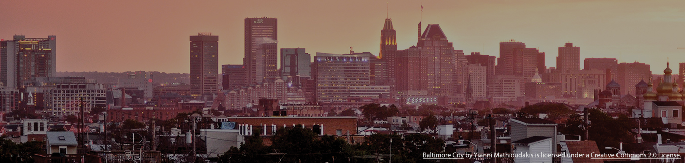 Image of Baltimore at sunset with an rose-grey overlay