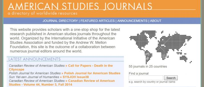 Screenshot of the International Journals Directory